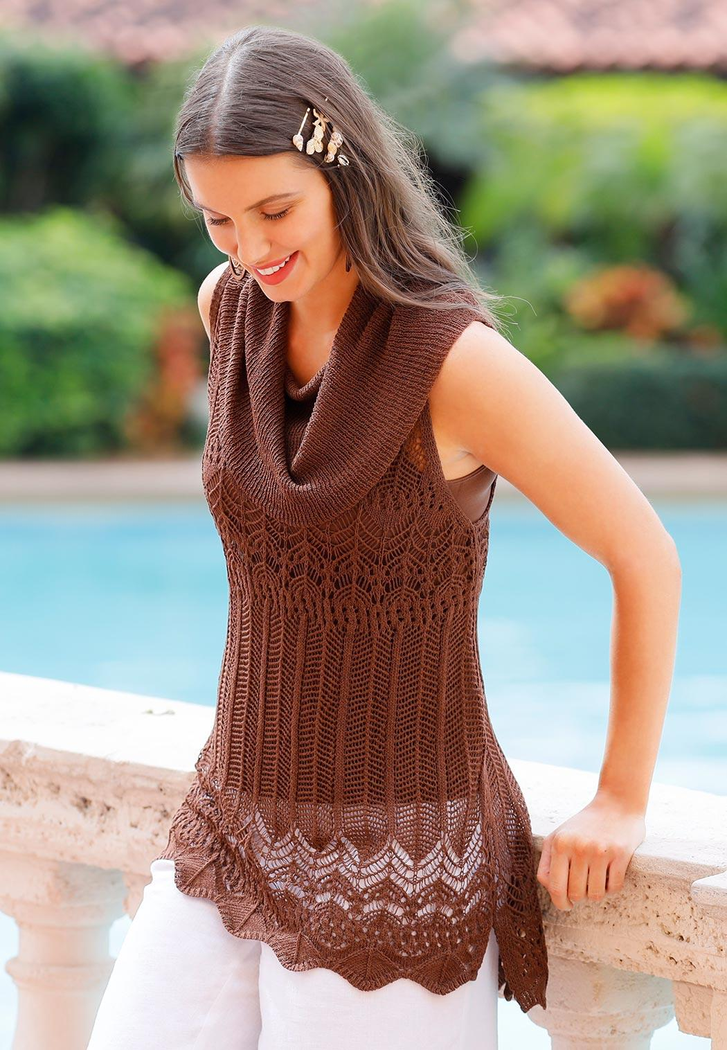 Brown Cowl Neck Sweater (Item #44194672)