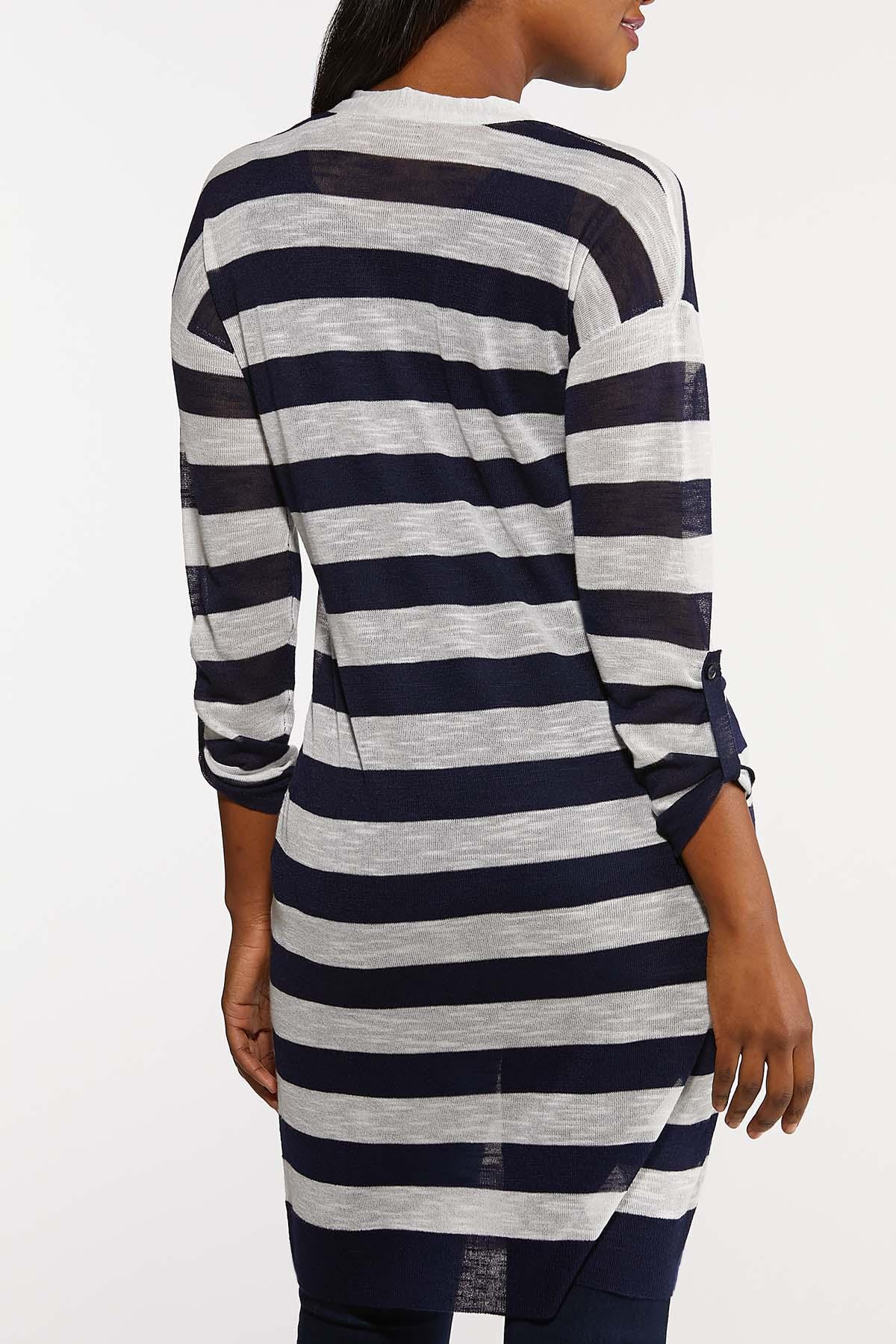 Plus Size Navy Stripe Cardigan Sweater (Item #44195133)