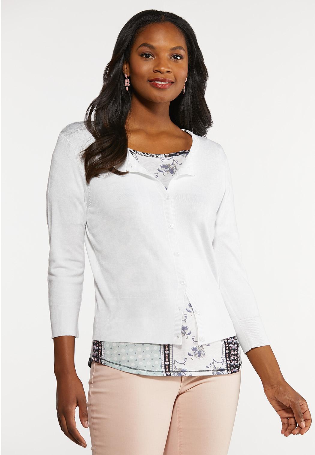 Plus Size Essential Cropped Cardigan (Item #44196038)