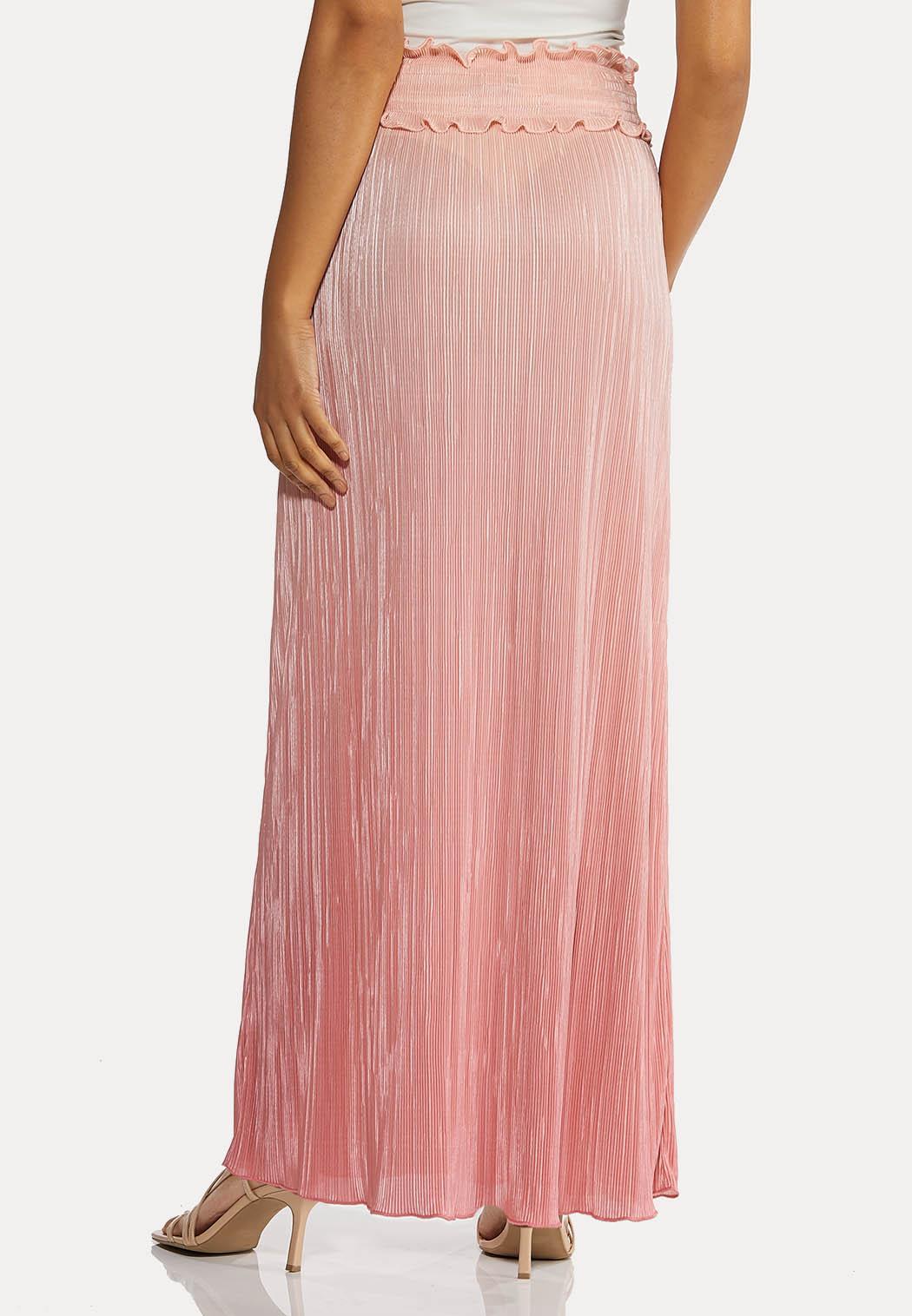 Plus Size Blush Pleated Maxi Skirt (Item #44196707)