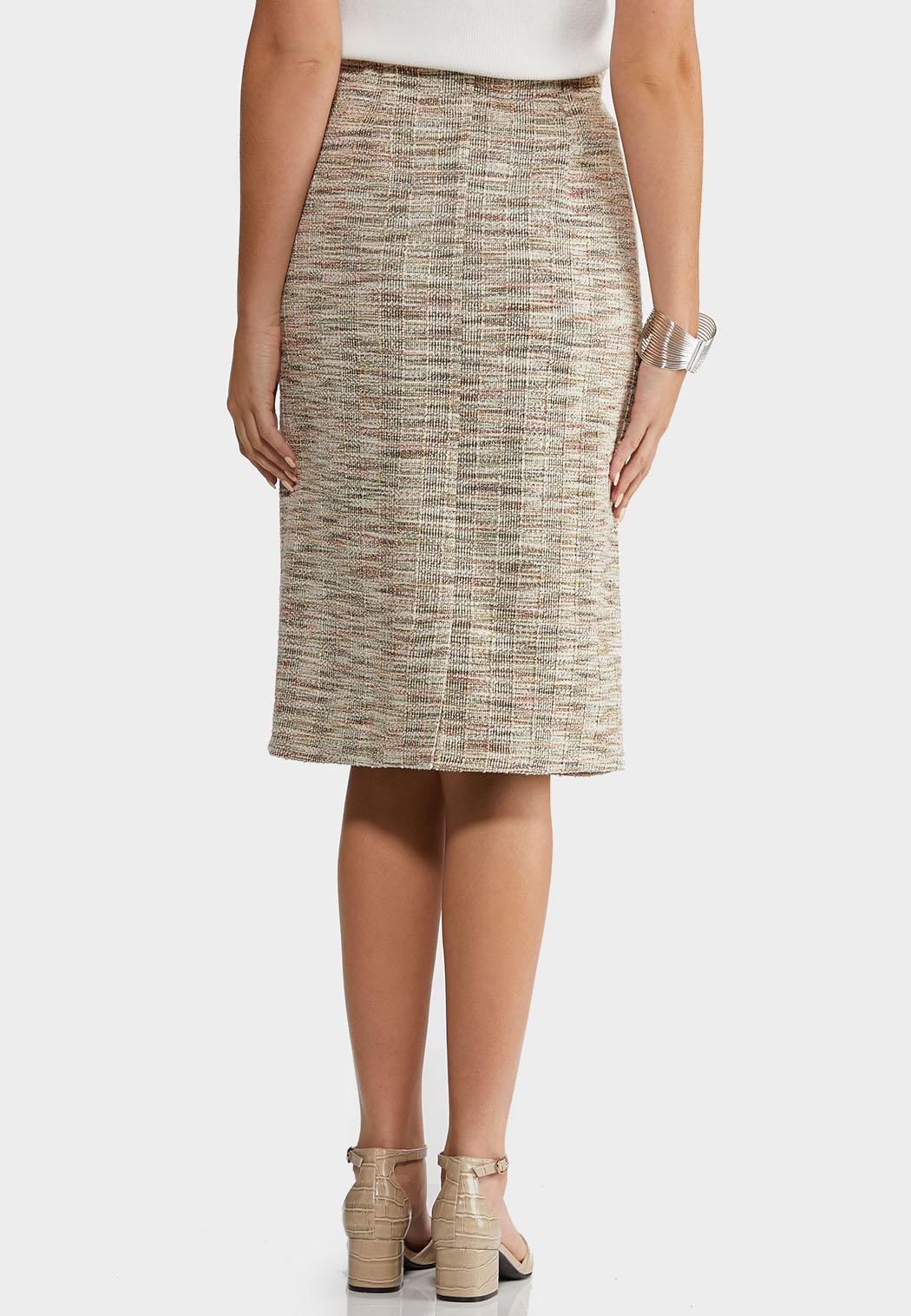 Plus Size Boucle Pencil Skirt (Item #44196754)