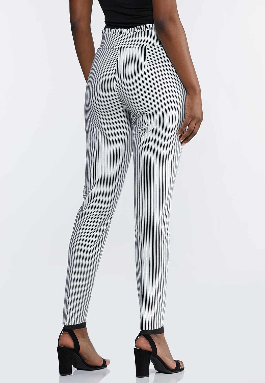 Petite Striped Paperbag Tie Waist Pants (Item #44196992)