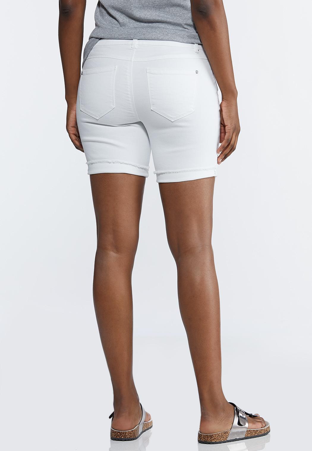 White Distressed Shorts (Item #44197694)