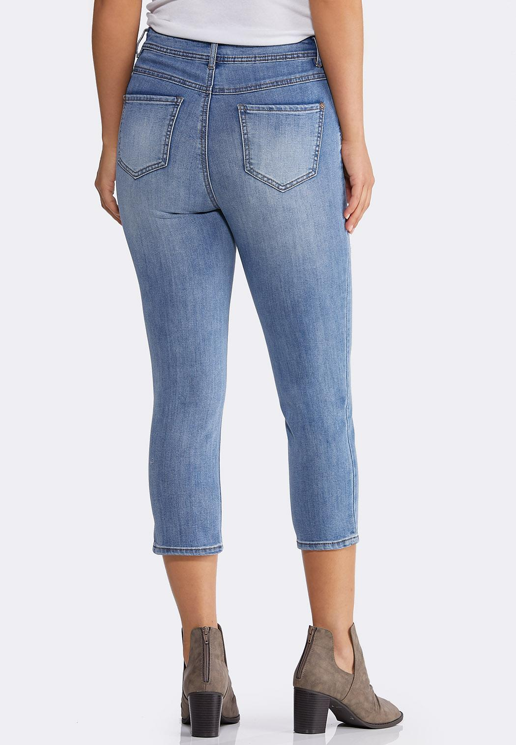 Cropped Distressed Skinny Jeans (Item #44198091)