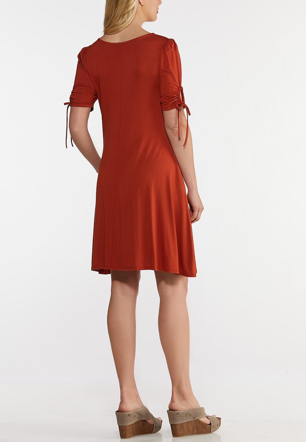 Plus Size Drawstring Tie Sleeve Dress (Item #44198920)