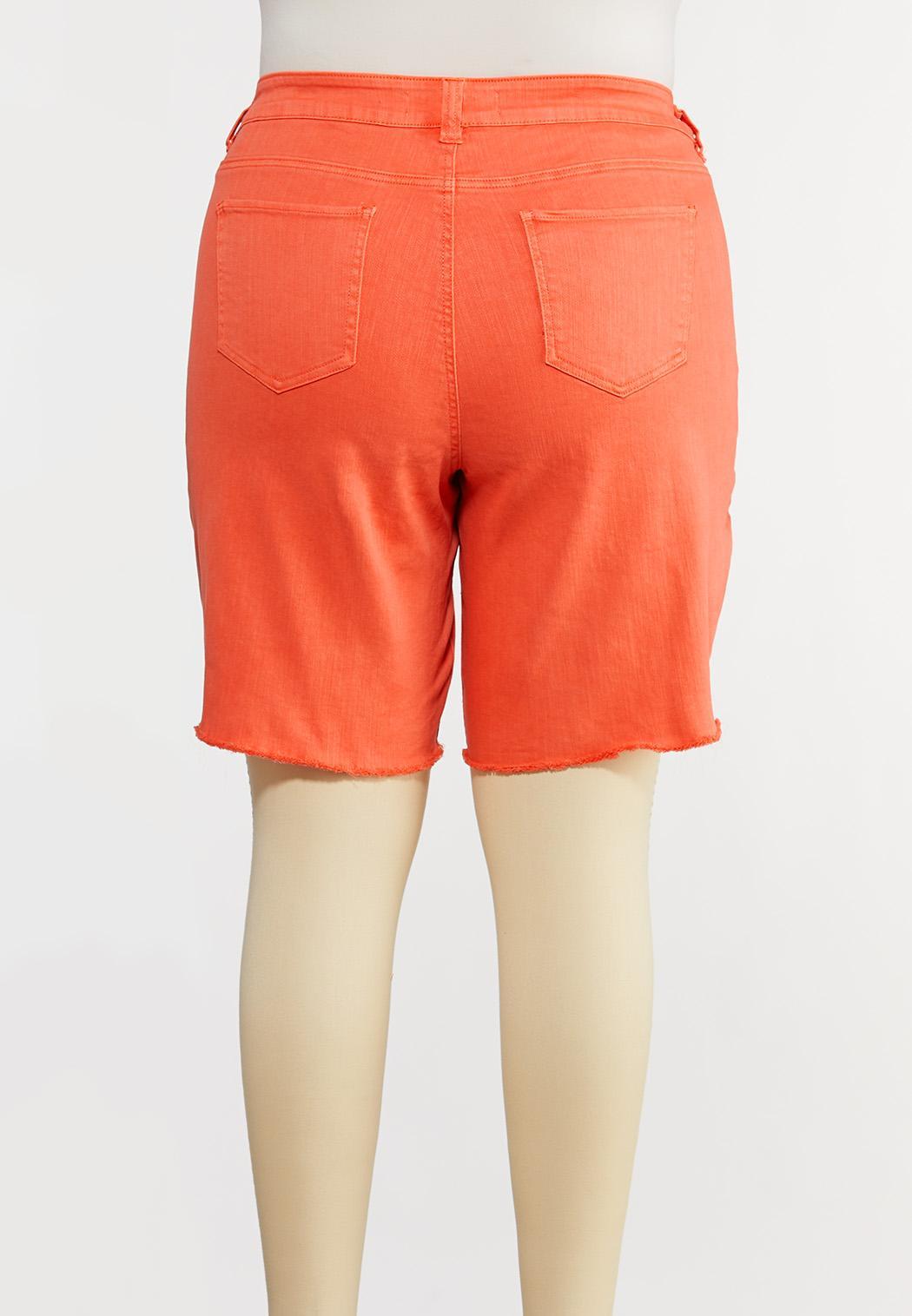 Plus Size Coral Bermuda Denim Shorts (Item #44198996)
