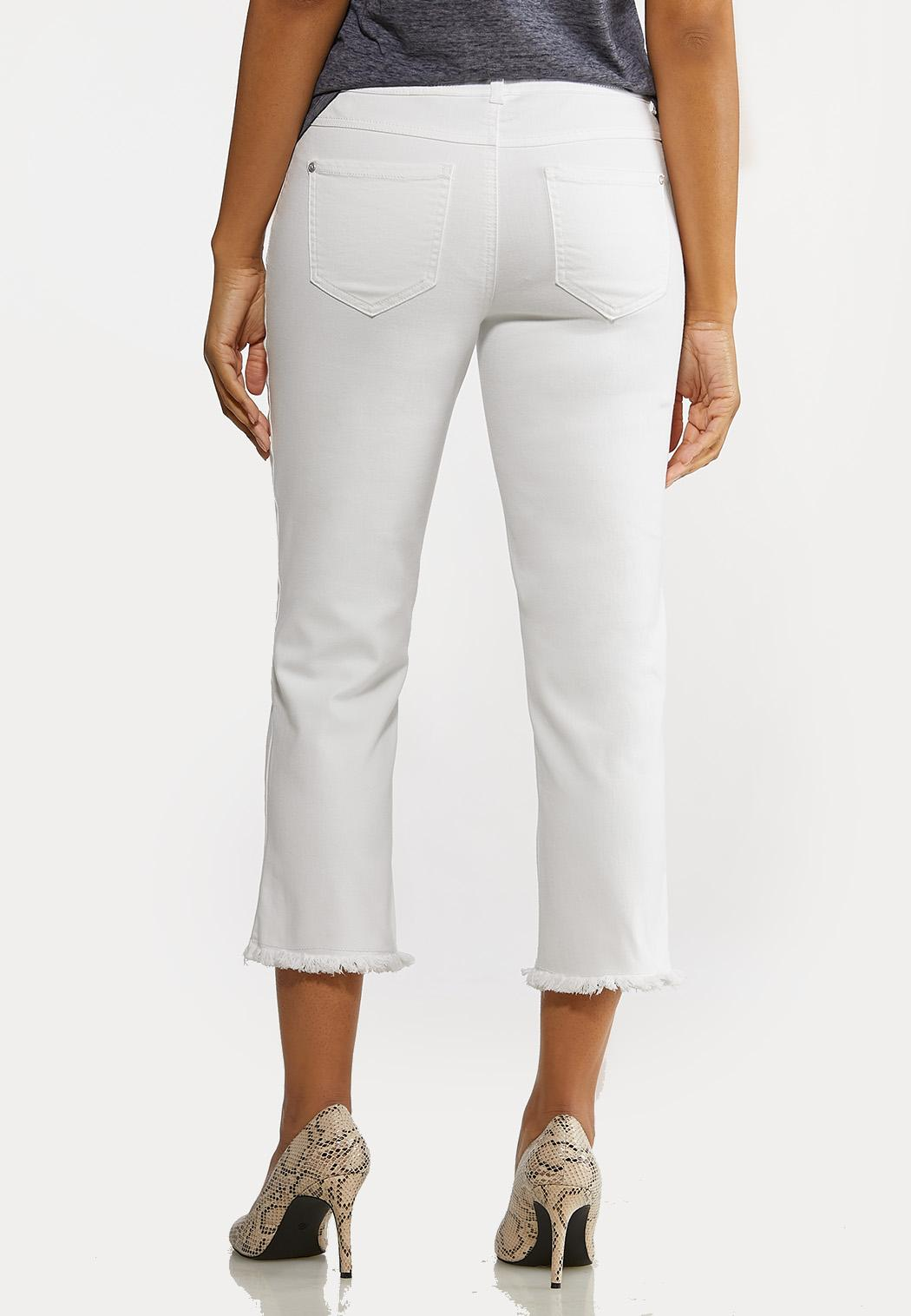 Cropped White Frayed Jeans (Item #44199157)