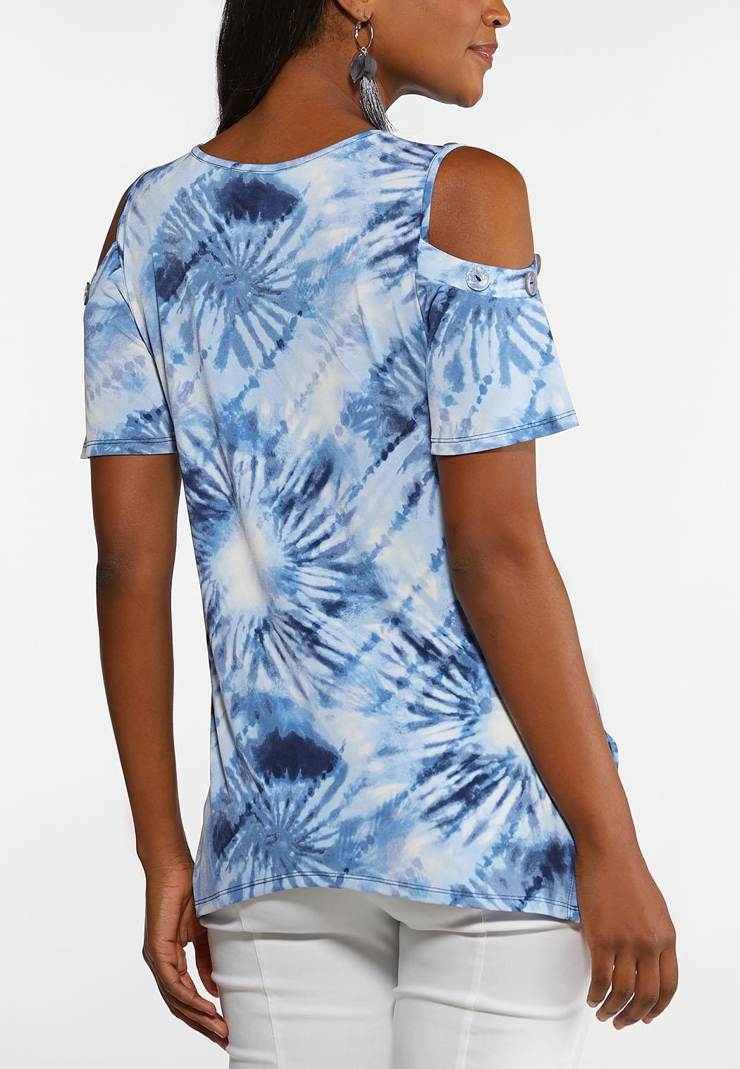 Plus Size Tie Dye Cold Shoulder Top (Item #44199176)