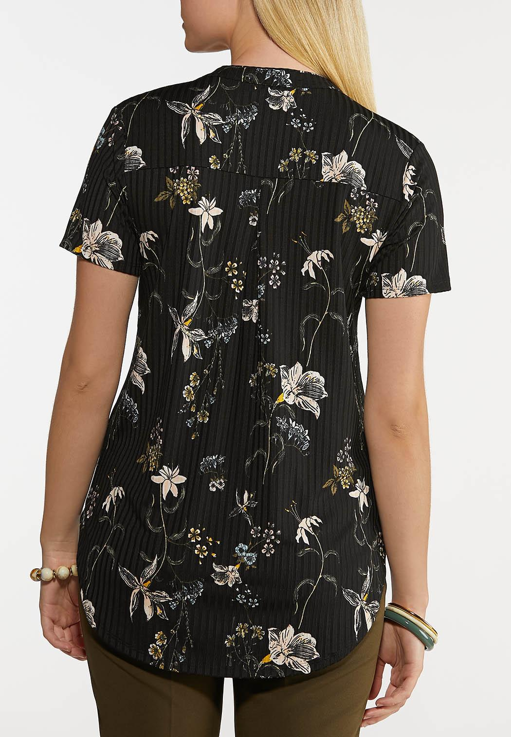 Plus Size Floral Ribbed Top (Item #44199266)