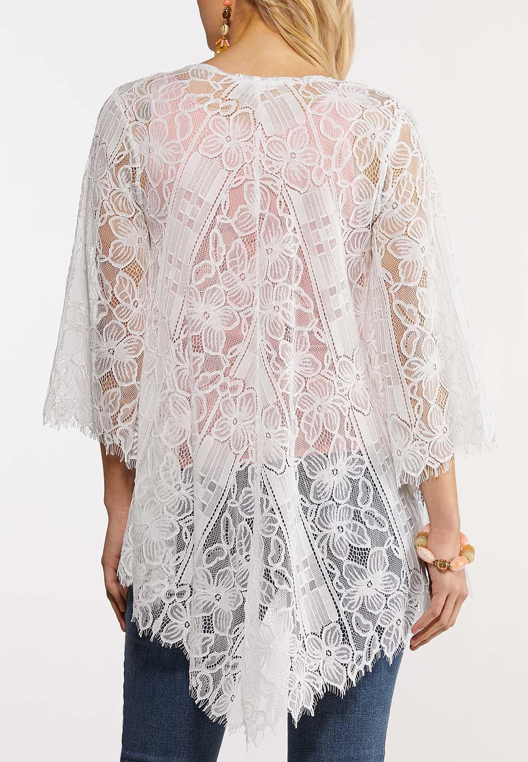 Plus Size White Lace Kimono (Item #44199626)