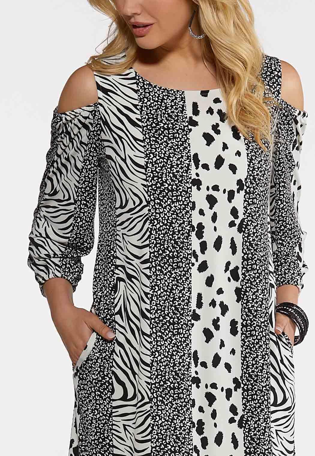 Animal Stripe Cold Shoulder Dress (Item #44199970)