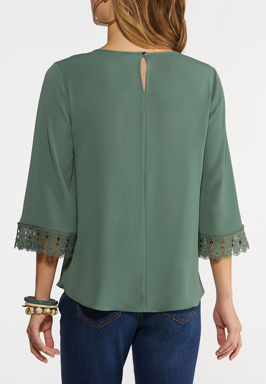 Plus Size Criss Cross Lace Sleeve Top (Item #44201120)