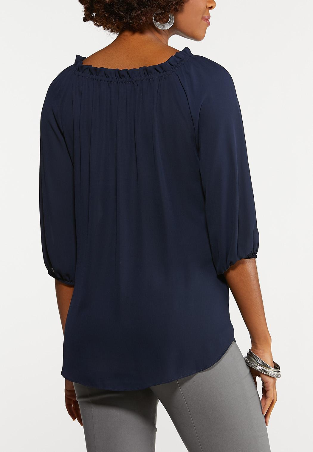 Navy Silver Button Top (Item #44201135)