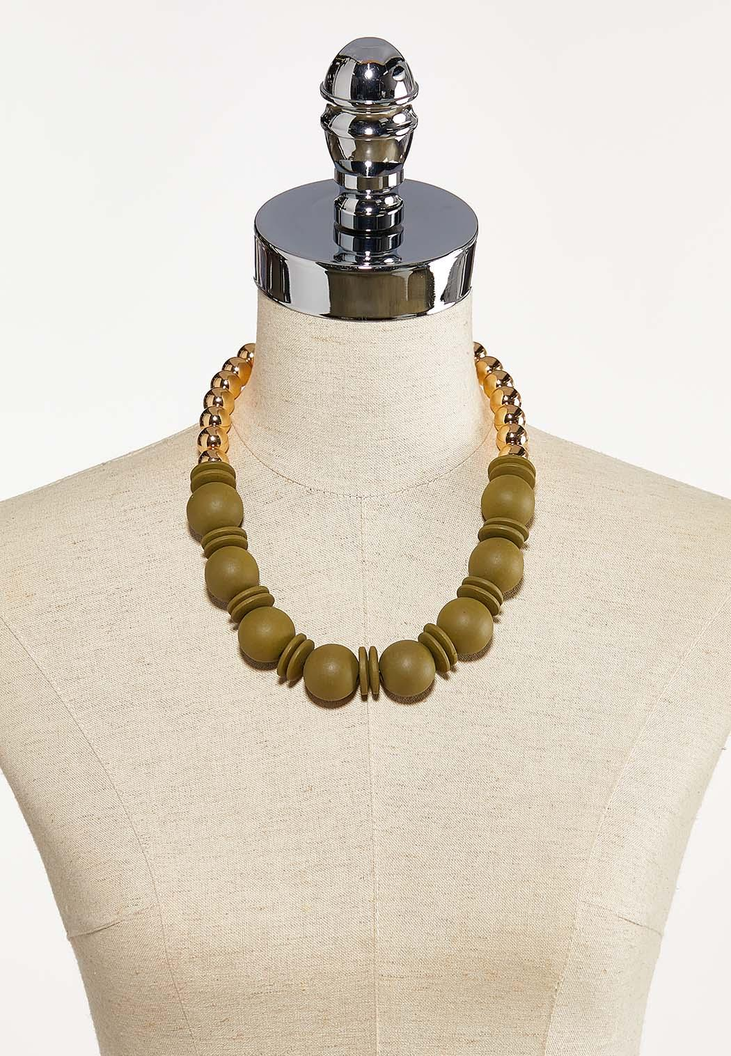 Wood And Metal Ball Necklace (Item #44201447)