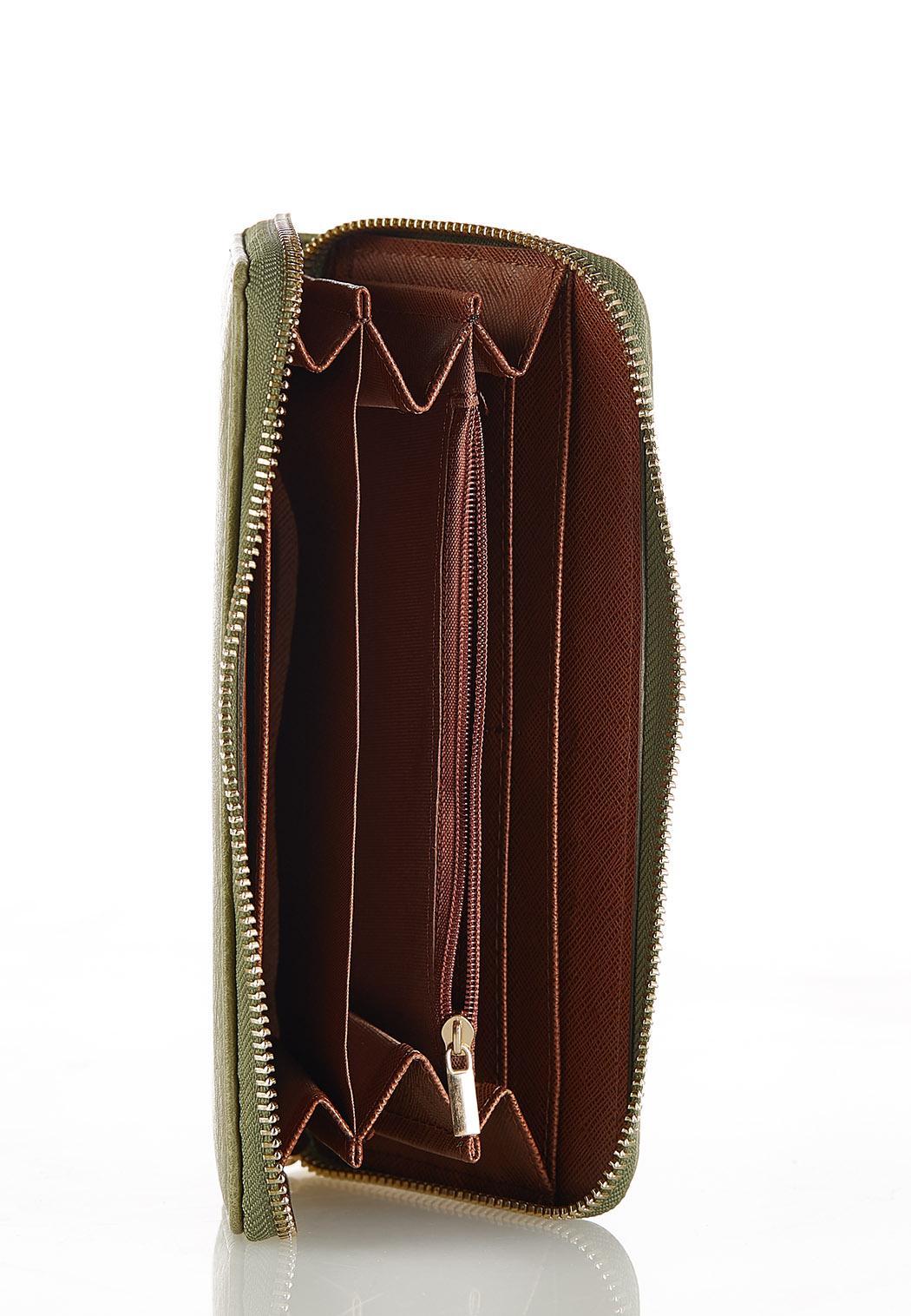 Green Zip Around Wallet (Item #44201619)
