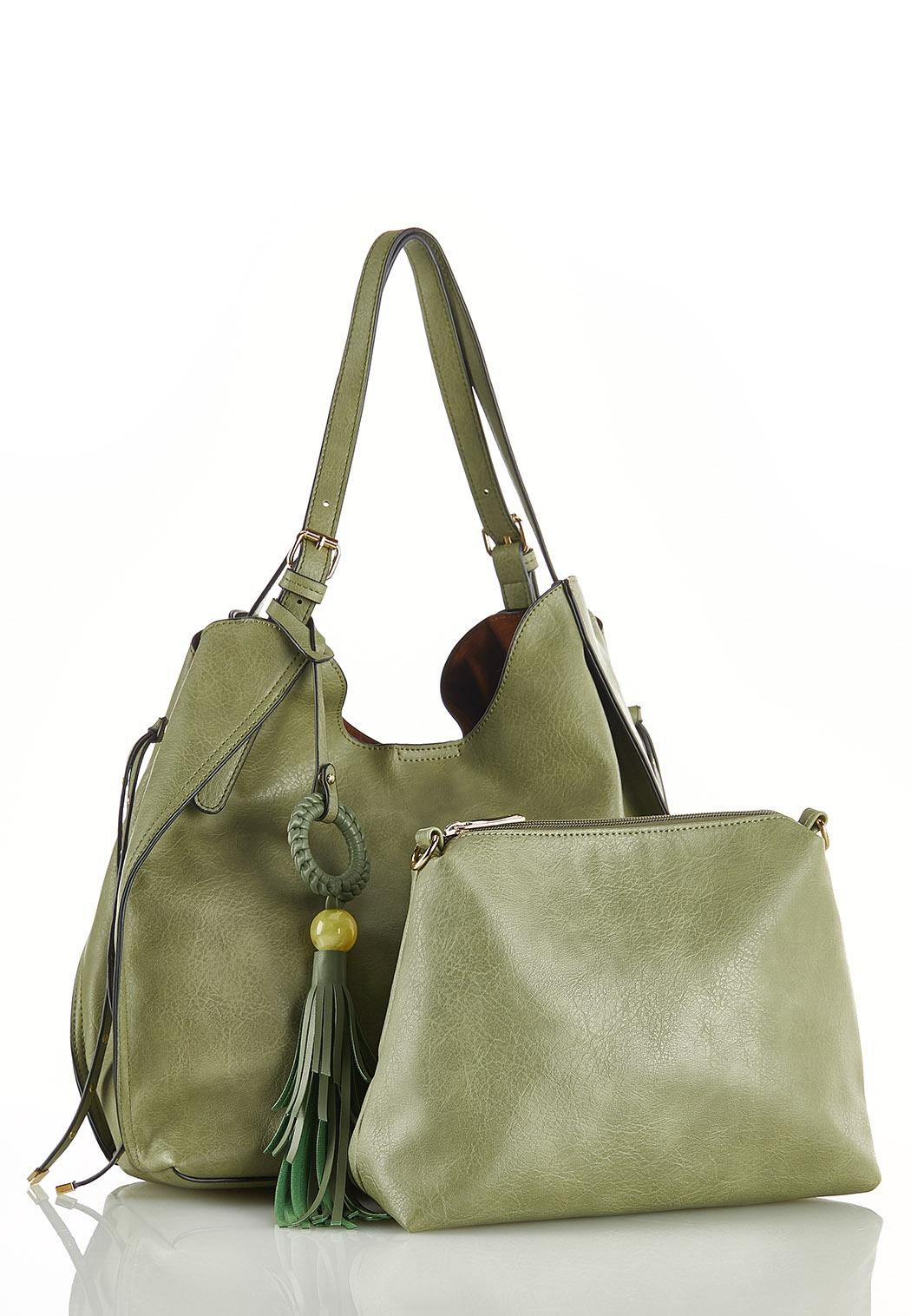 Green Tasseled Hobo Handbag (Item #44201663)