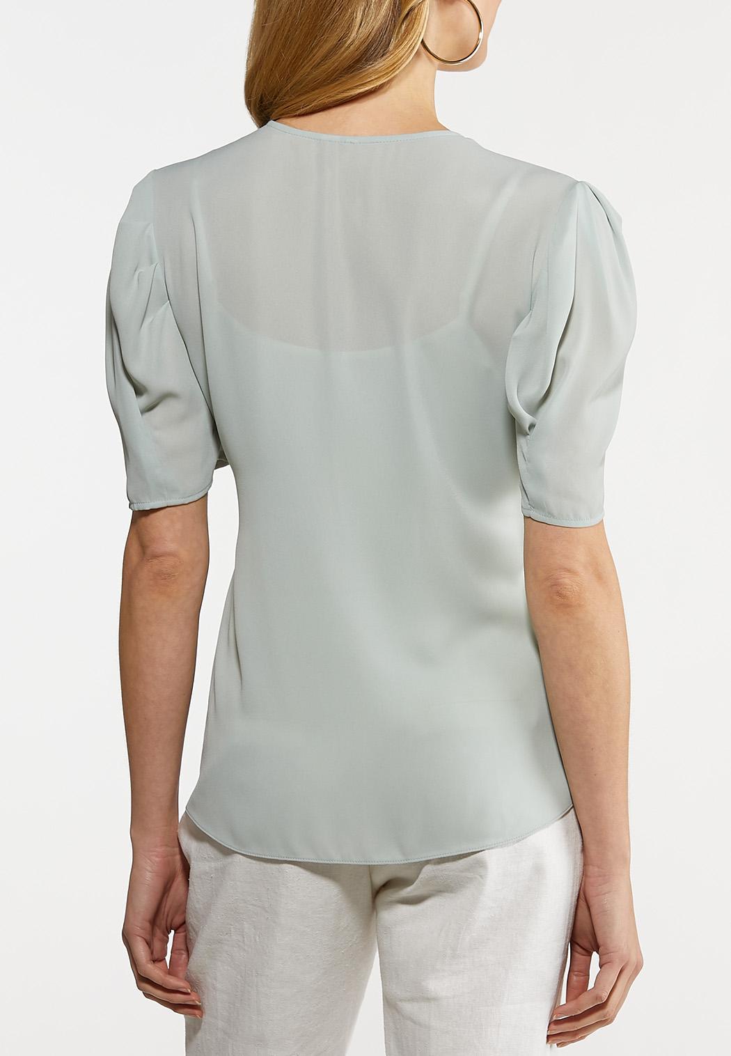 Plus Size Solid Faux Wrap Top (Item #44201863)