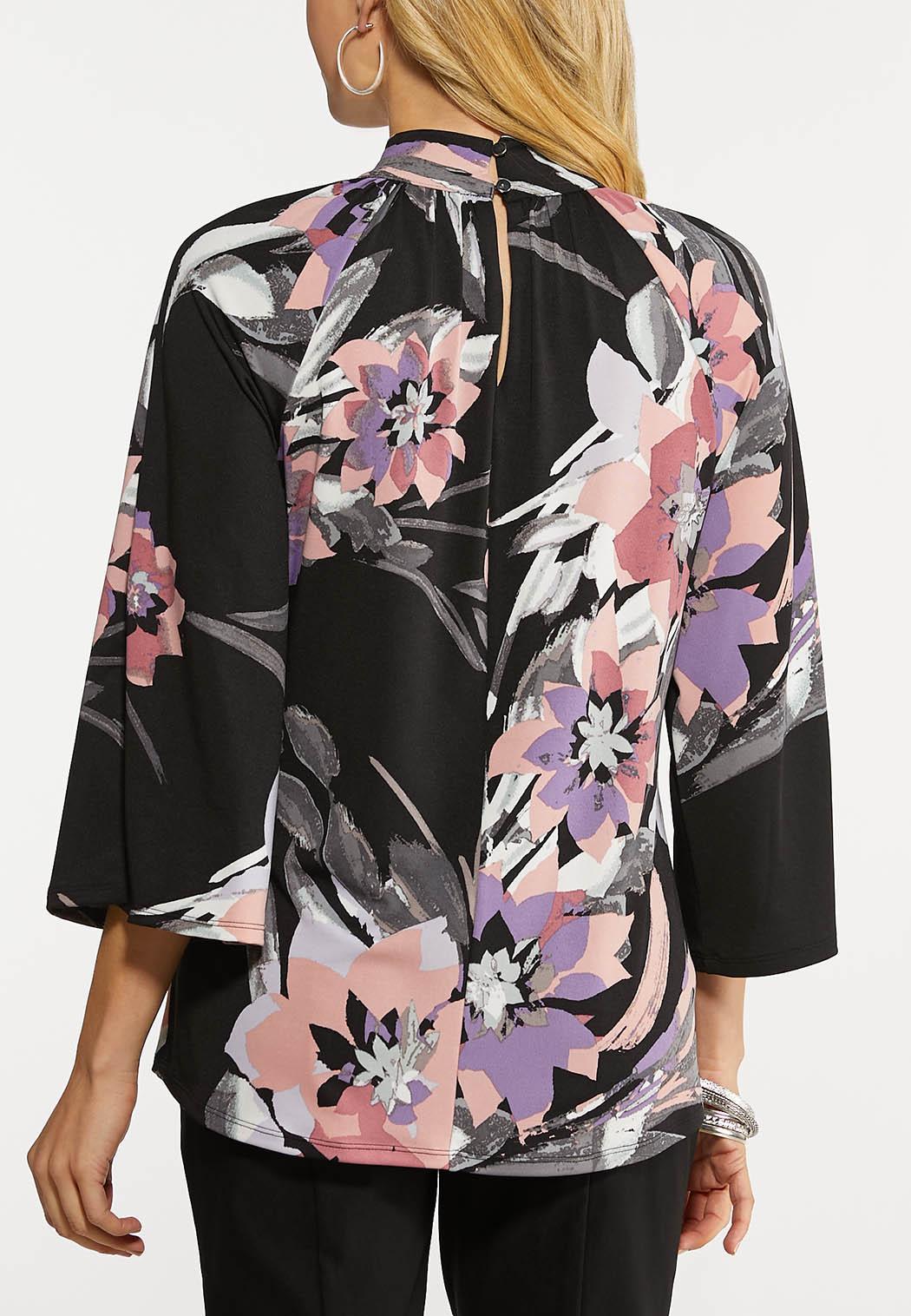 Plus Size Floral Mock Neck Top (Item #44202050)