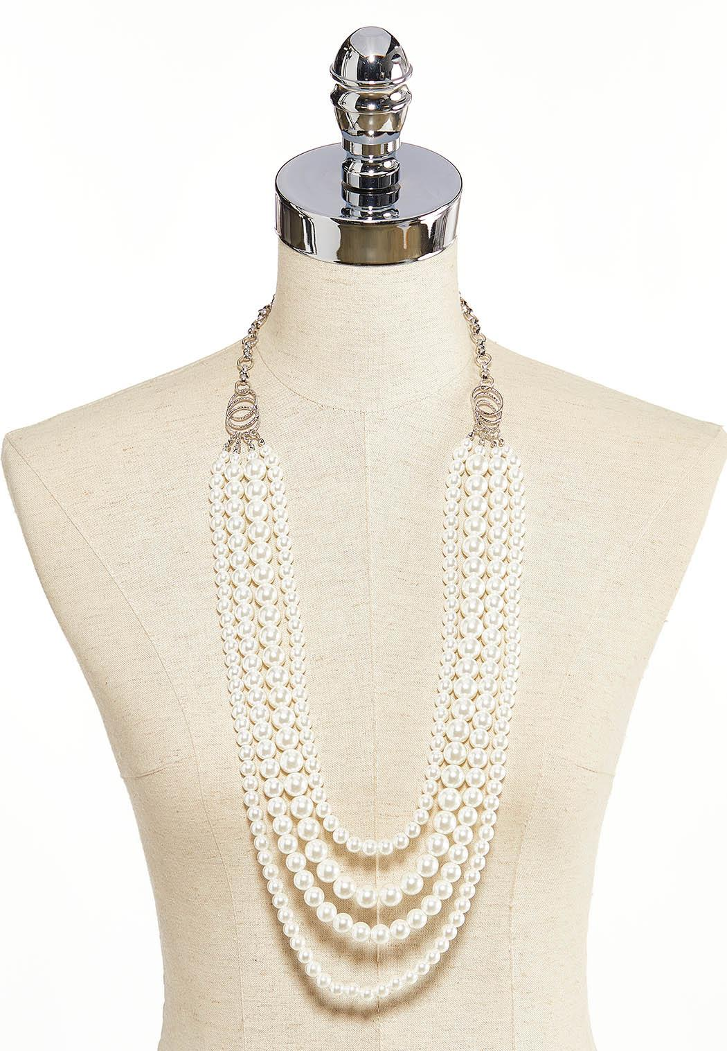 Layered Pearl Chain Necklace (Item #44203325)