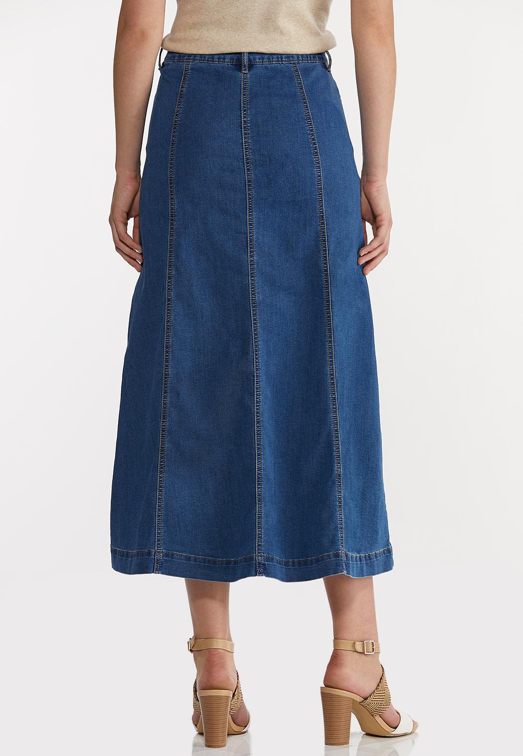 Plus Size Denim Panel Maxi Skirt (Item #44203442)