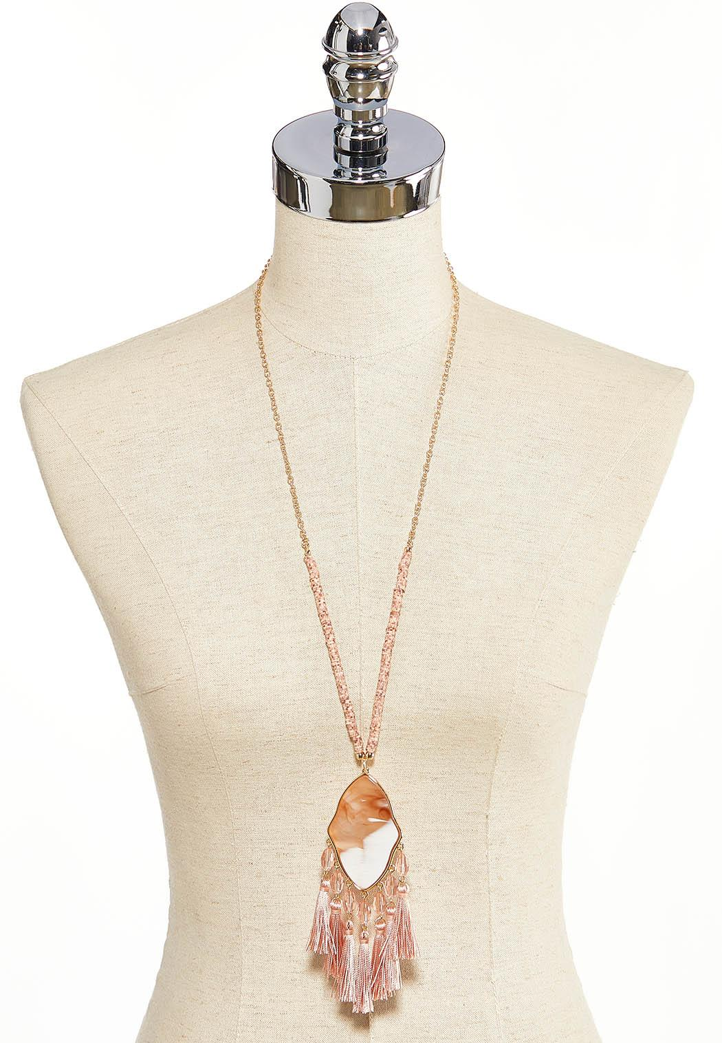 Pretty Pink Tassel Pendant Necklace (Item #44203795)