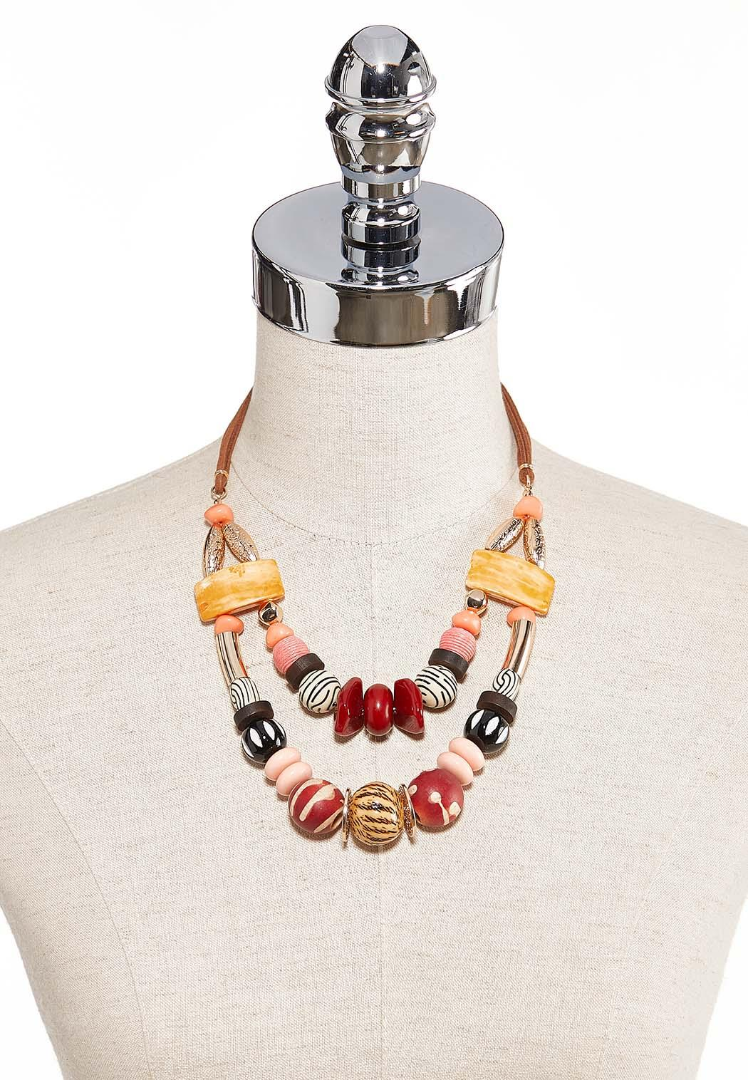 Chunky Bead Layered Cord Necklace (Item #44203855)