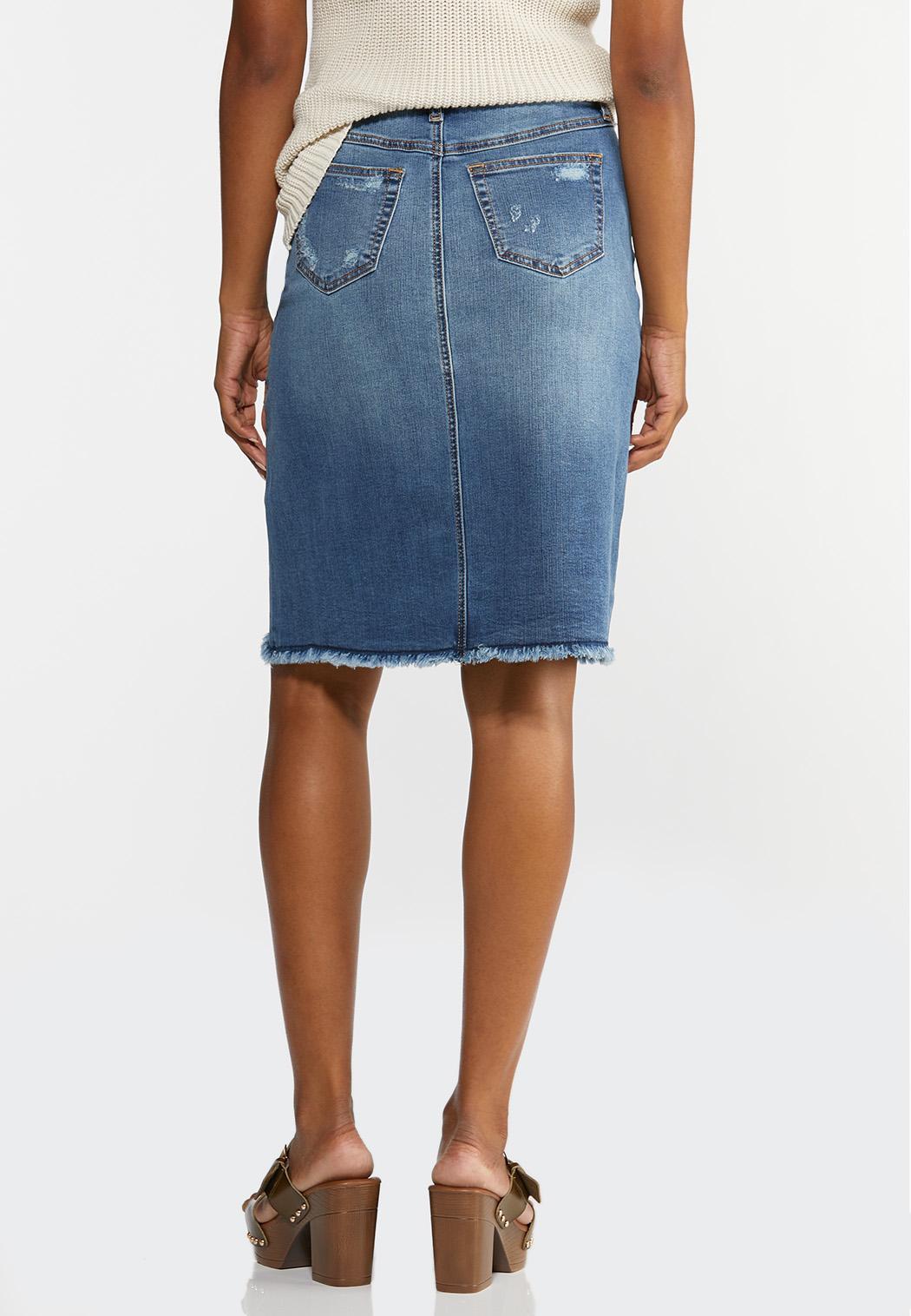 Plus Size Distressed Denim Skirt (Item #44203883)