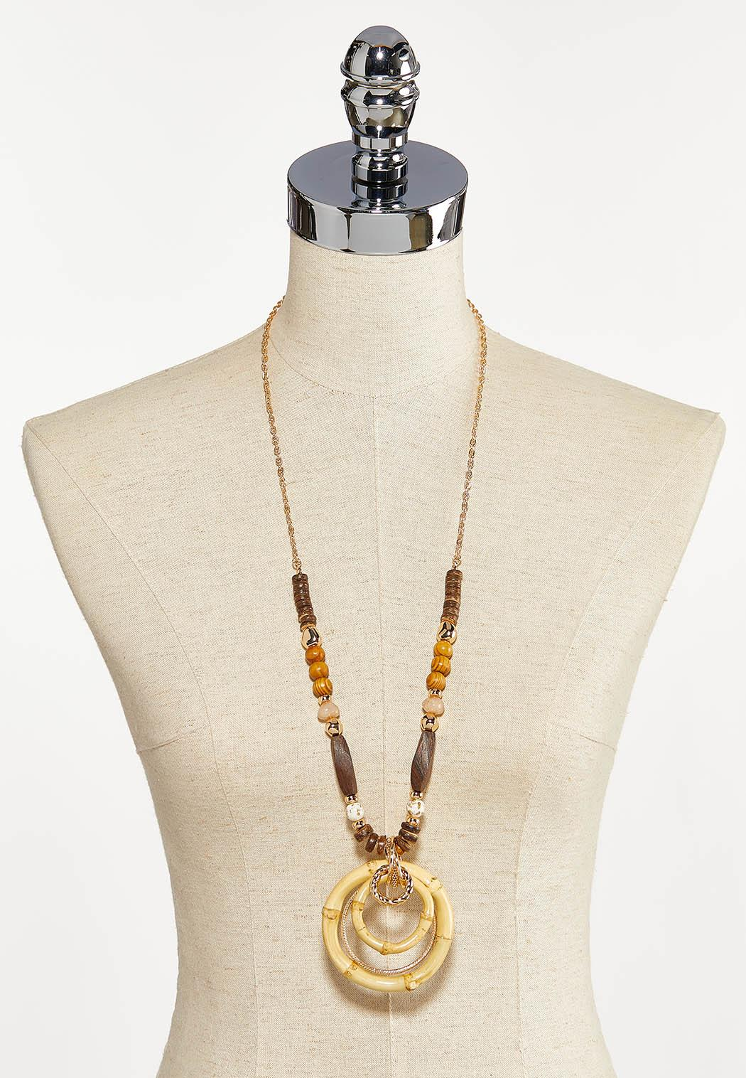 Neutral Bamboo Pendant Necklace (Item #44204015)