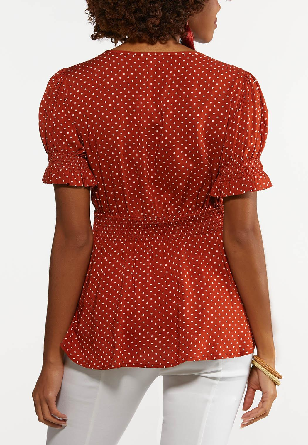 Dotted Smocked Peplum Top (Item #44204567)