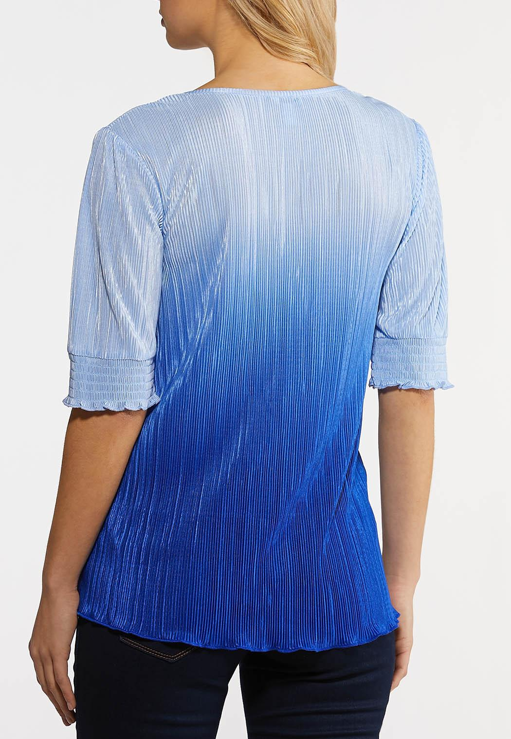 Plus Size Pleated Blue Ombre Top (Item #44204834)
