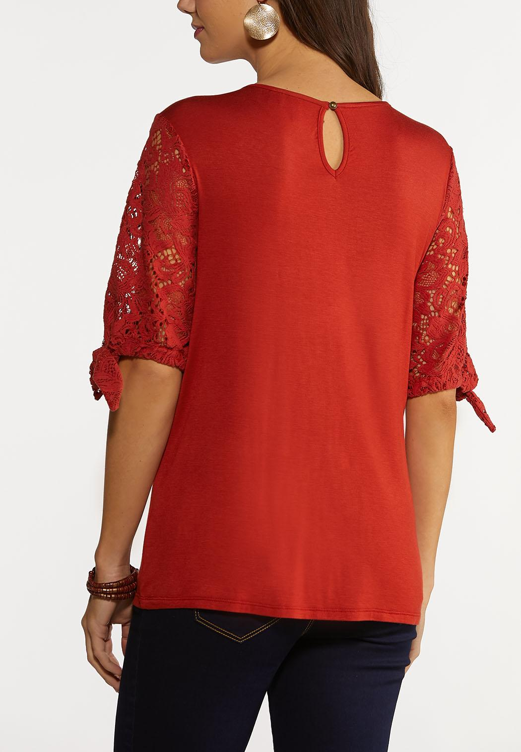 Plus Size Rust Lacey Tie Sleeve Top (Item #44204861)