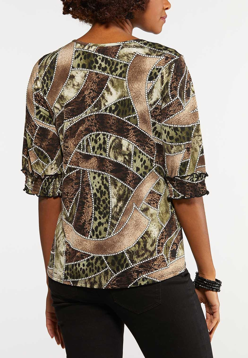 Plus Size Mixed Print Puff Top (Item #44205558)