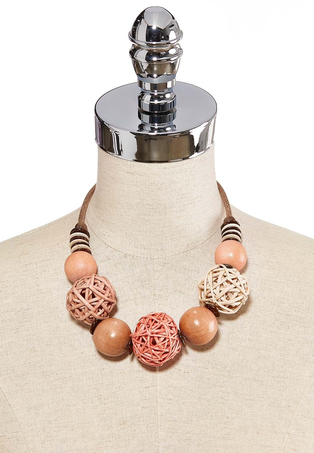 Raffia Wood Ball Short Necklace (Item #44205659)
