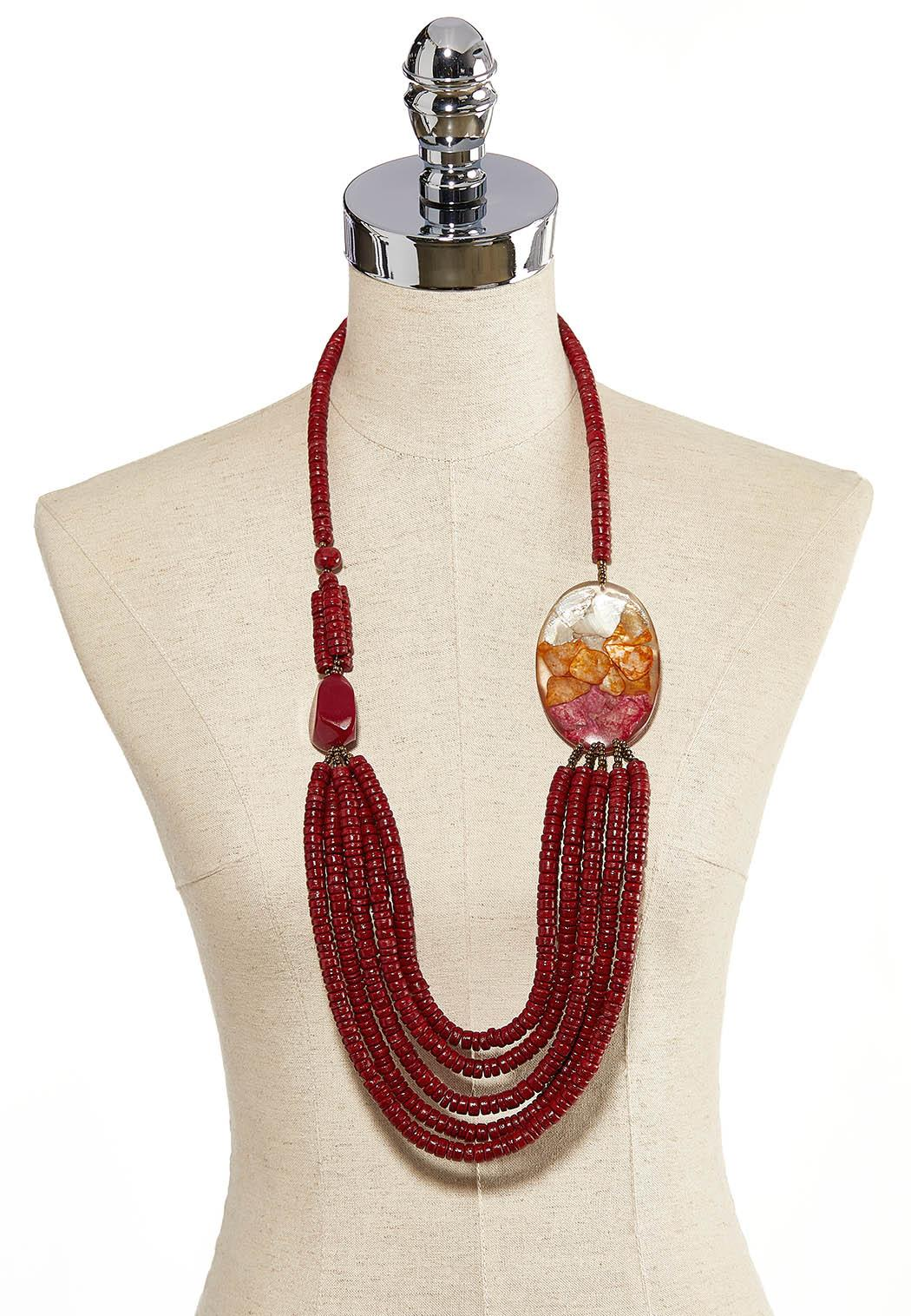 Red Seed Bead Shell Necklace (Item #44205674)