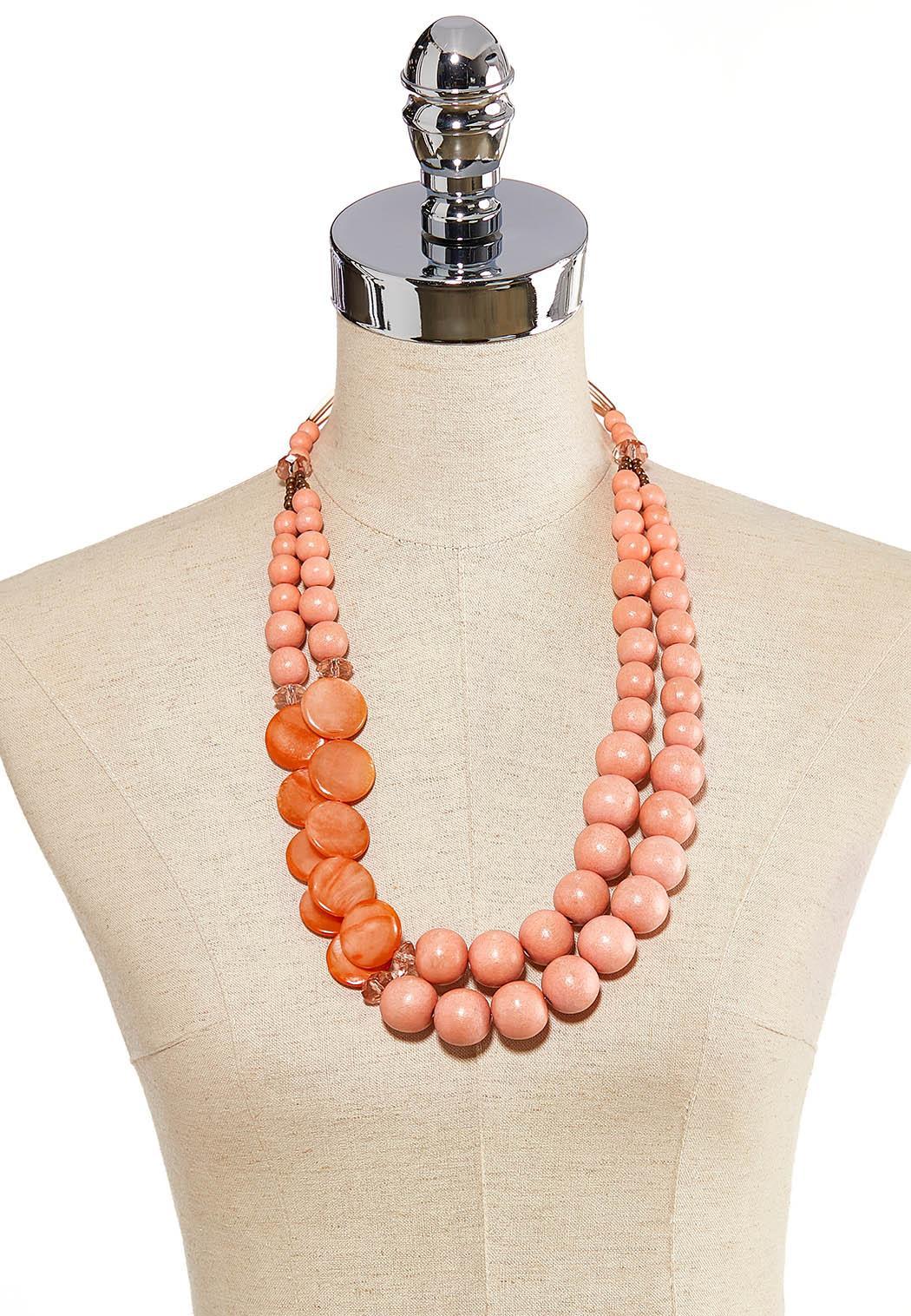 Layered Orange Bead Necklace (Item #44205723)