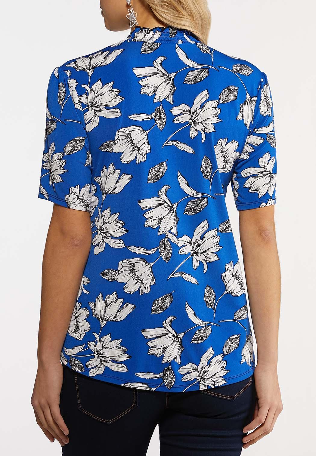 Plus Size Blue Floral Mock Neck Top (Item #44205845)