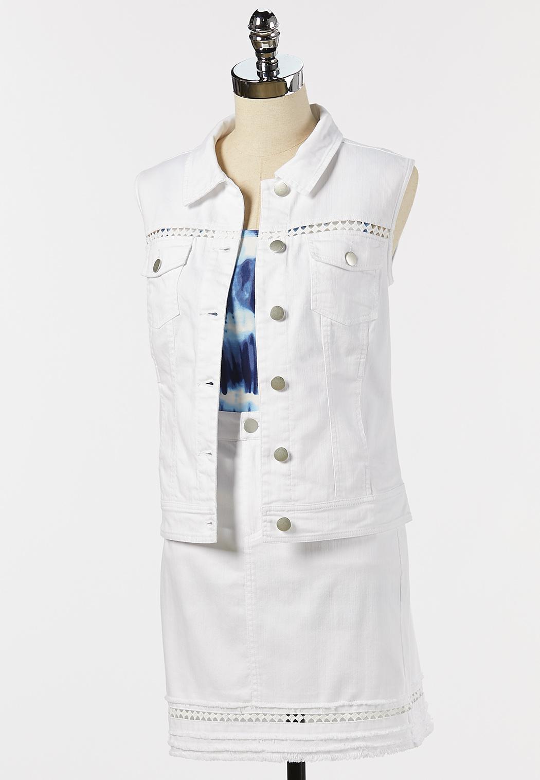 Plus Size Eyelet Denim Vest (Item #44210670)