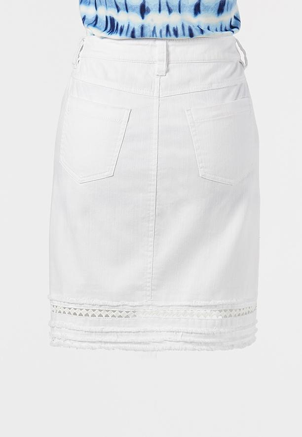 Plus Size Eyelet Denim Skirt (Item #44210858)