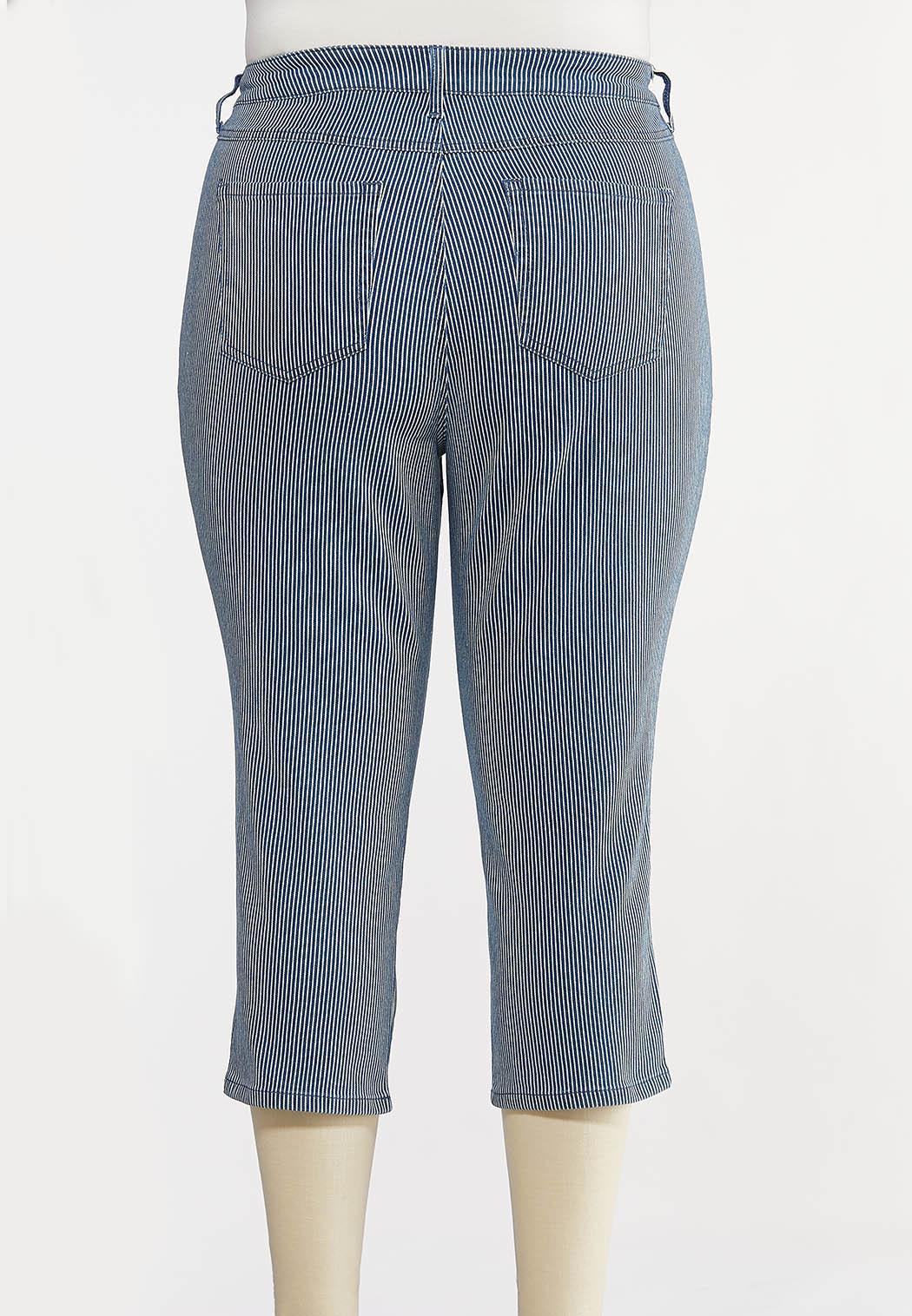 Plus Size Cropped Nautical Stripe Pants (Item #44211463)