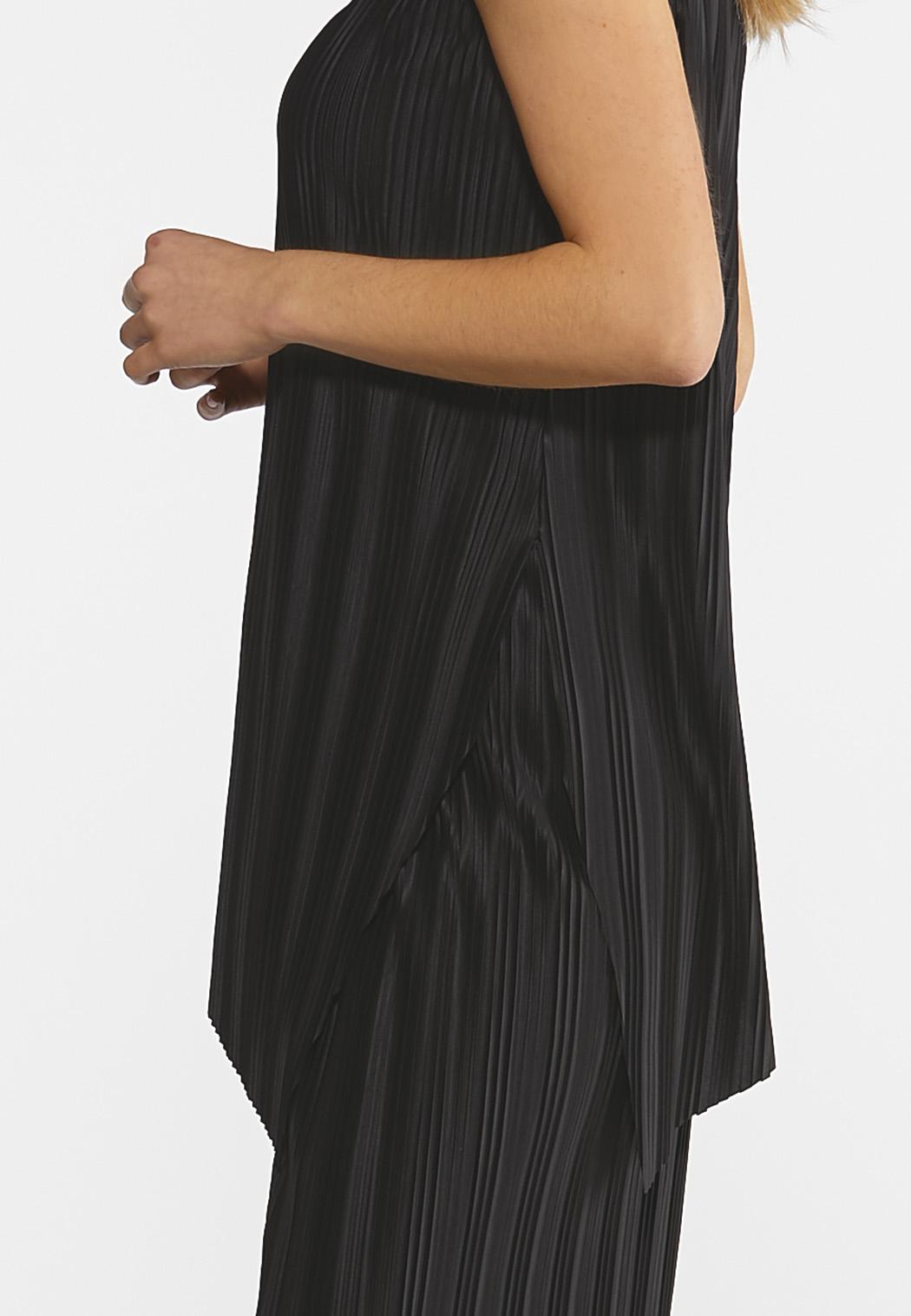 Plus Size Black Pleated Pant Set (Item #44212120)