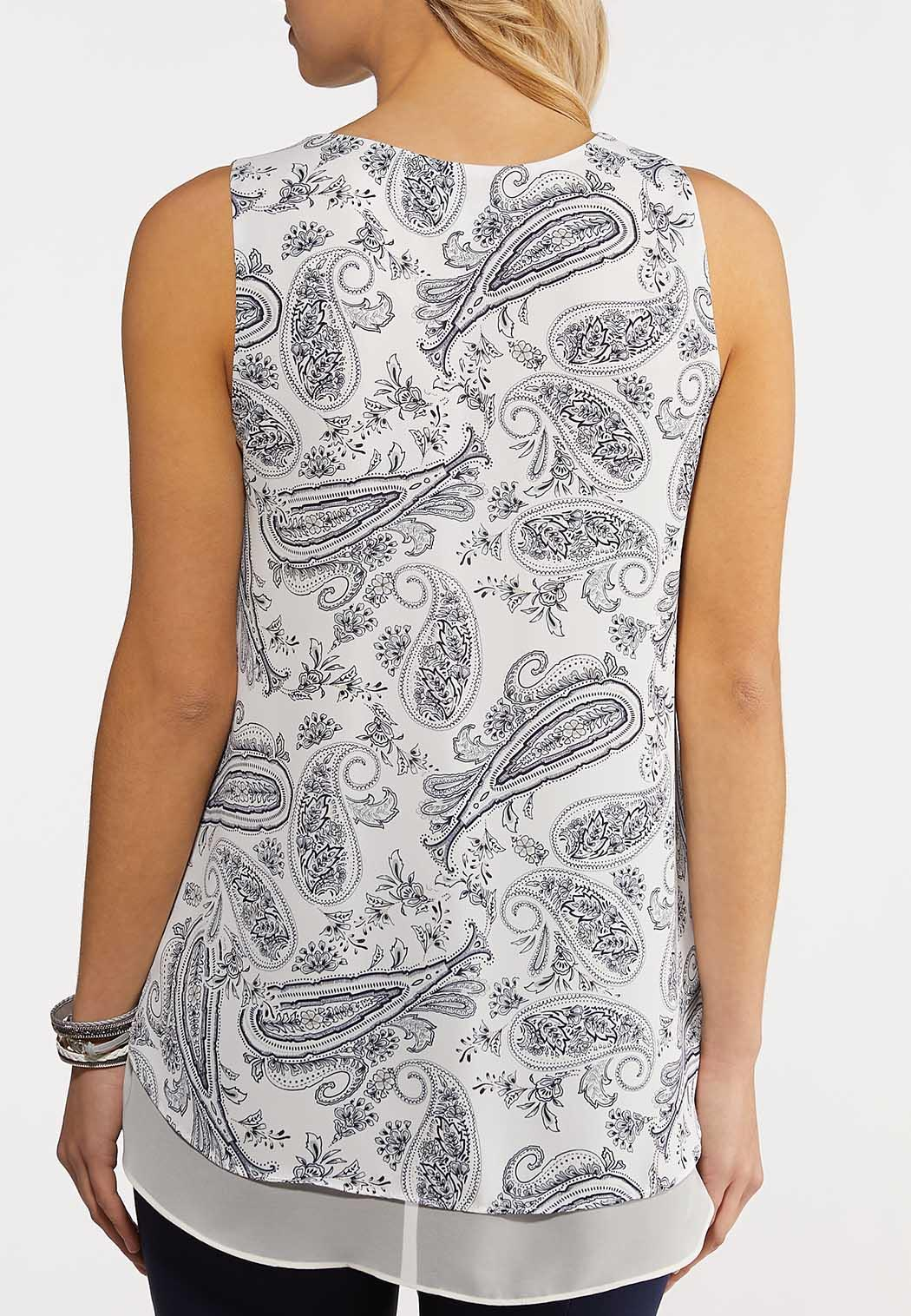 Plus Size Layered Navy Paisley Tank (Item #44213335)
