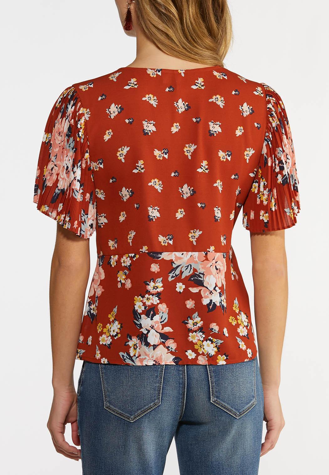 Plus Size Floral Faux Wrap Top (Item #44213495)