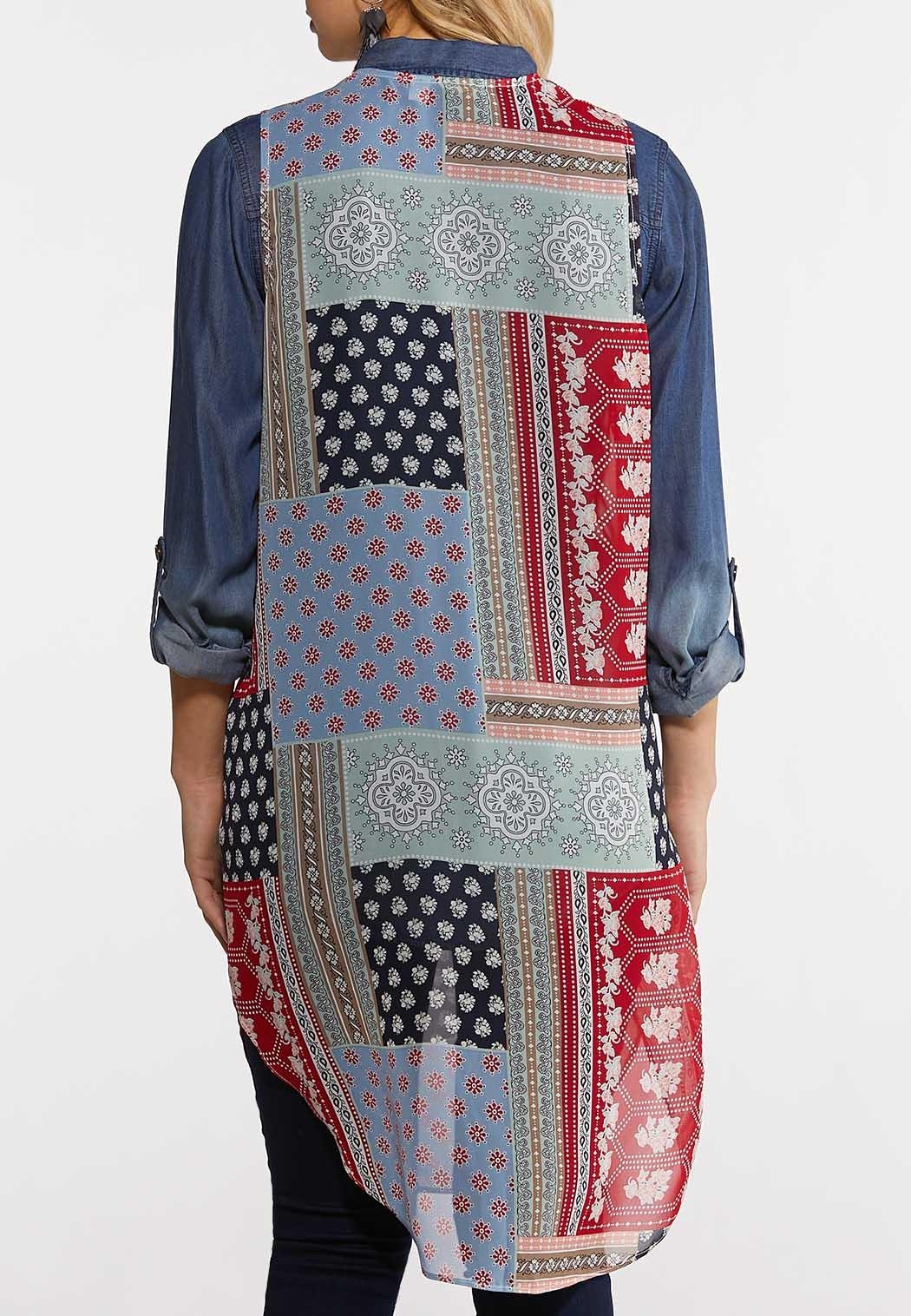 Plus Size Boho Patchwork Vest (Item #44213648)