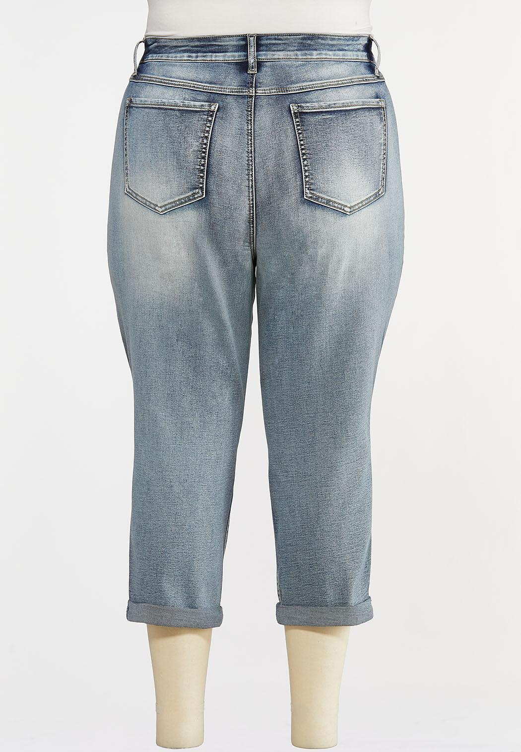 Plus Size Shape Enhancing Cropped Jeans (Item #44213687)