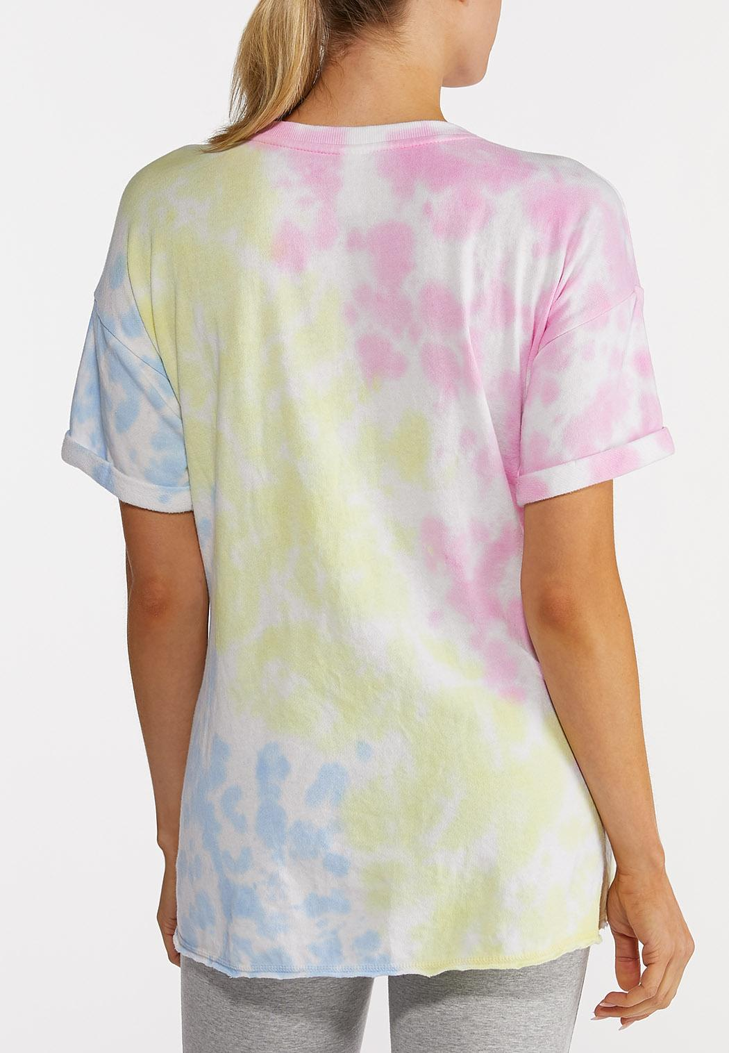 Plus Size Tie Dye Knotted Tee (Item #44213921)