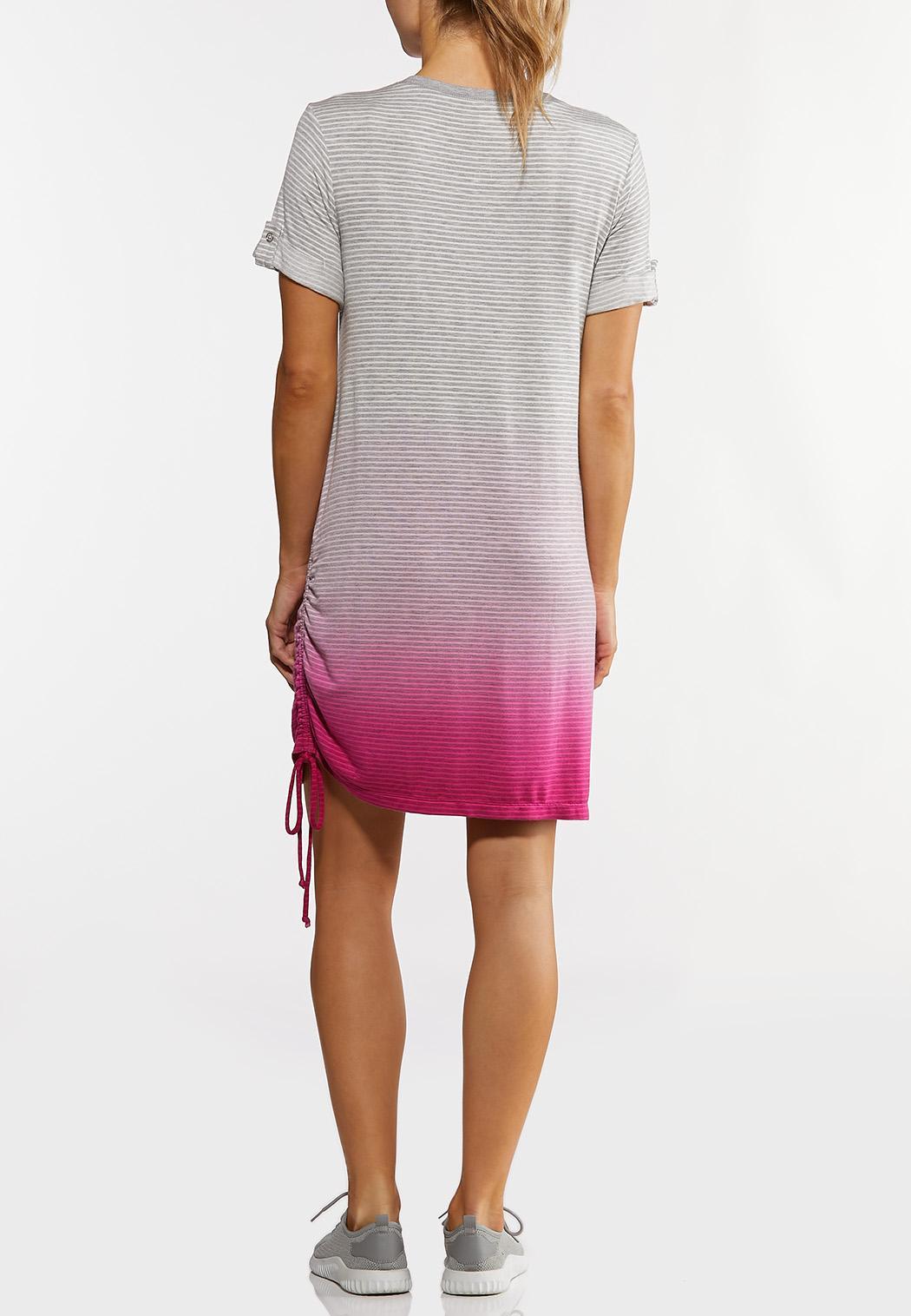 Plus Size Striped Dip Dye Athleisure Dress (Item #44213960)