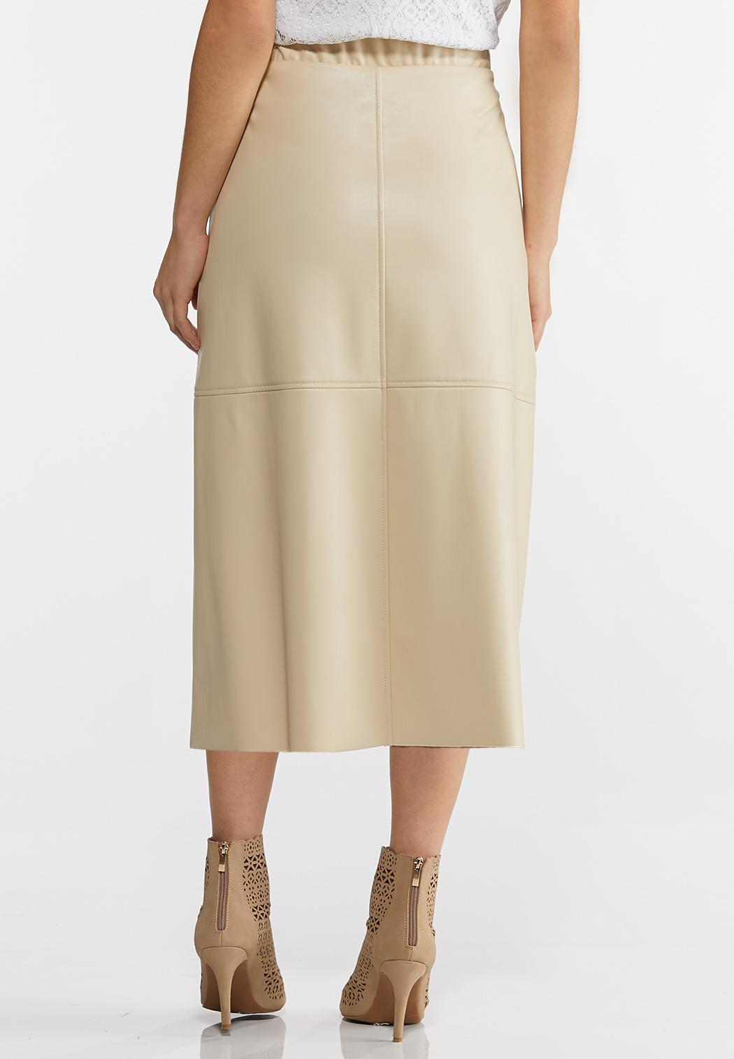 Faux Leather Tie Front Skirt (Item #44214636)