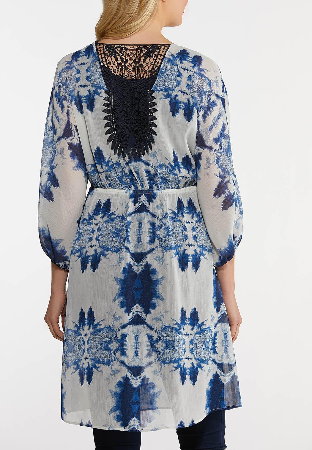 Plus Size Navy Tie Dye Kimono (Item #44214679)