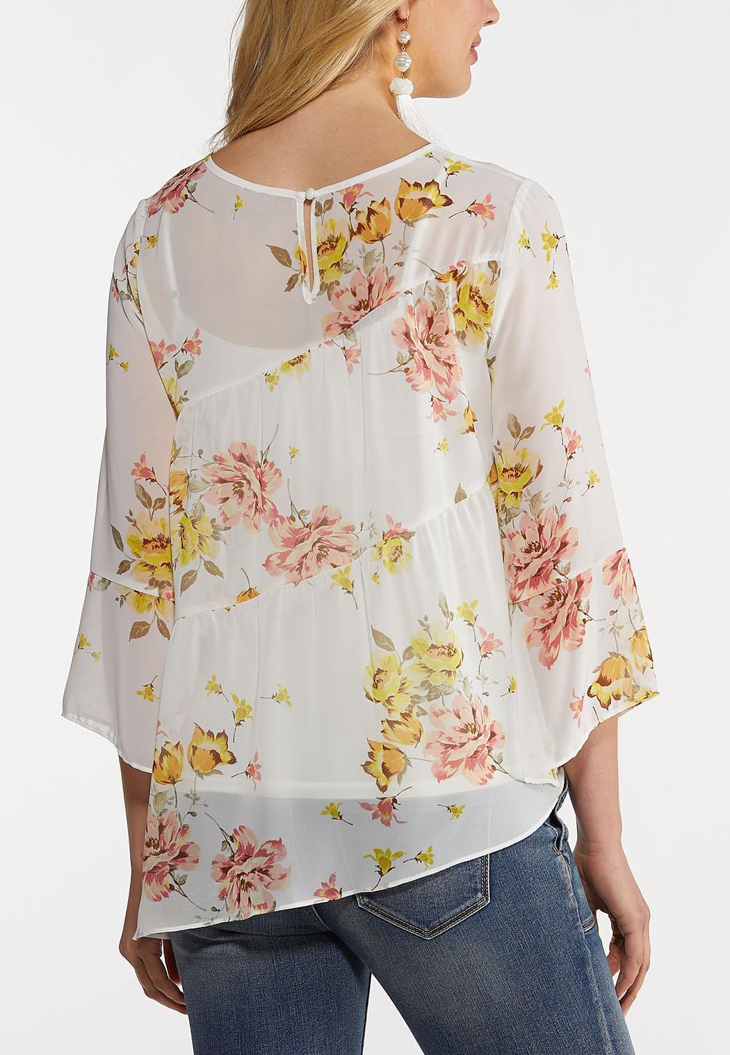 Plus Size Asymmetrical Floral Top (Item #44214702)