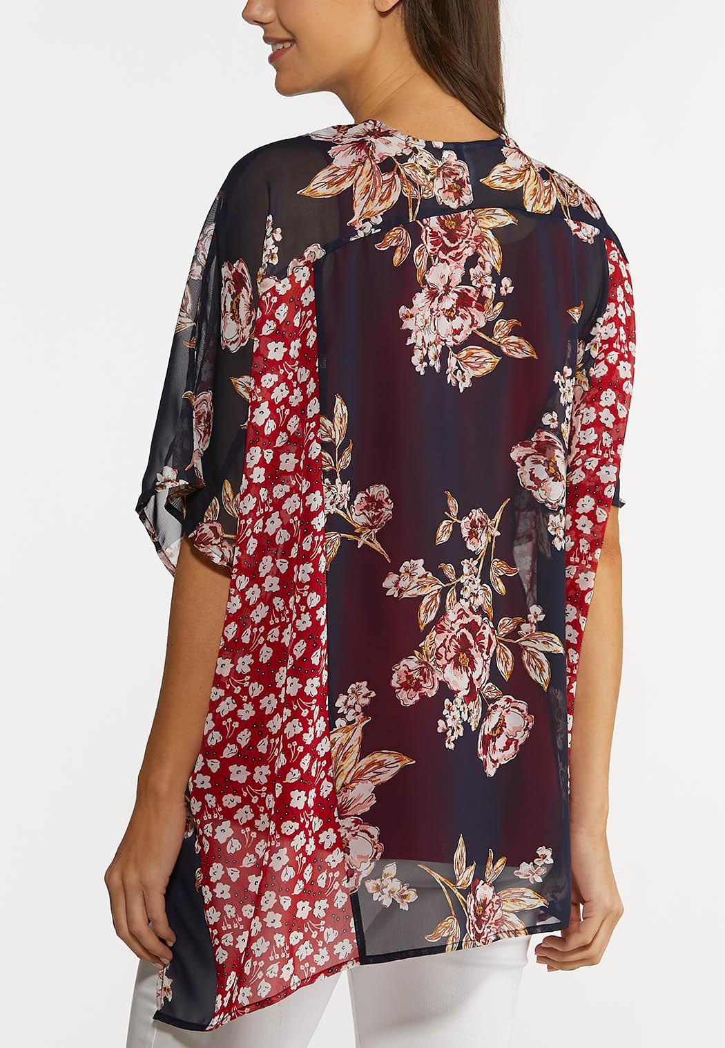 Navy Red Floral Kimono (Item #44215587)